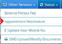 Appointment reschedule online with RTO