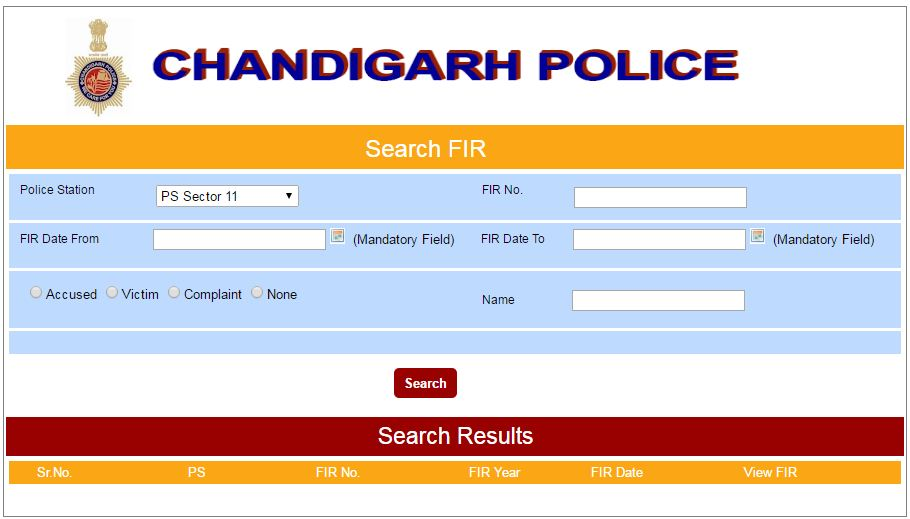 Chandigarh Police Search online FIR copy