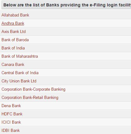 Income Tax Return e-Filing, List of Banks
