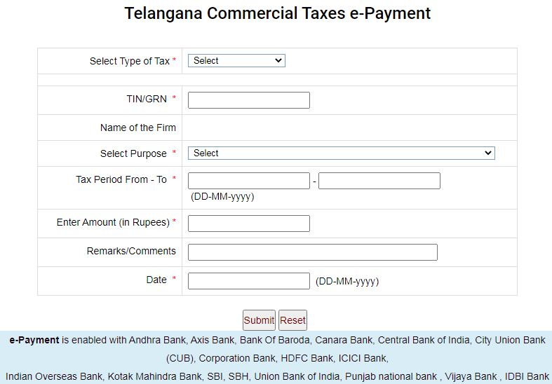 Telangana Pay Taxes online